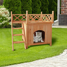Pet Wooden Cat Dog House Cat Dog bed Living House Kennel With Balcony Wood Color