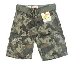 Levi's Boys Cargo Shorts Green Beachnik Camo with Belt Size 5 NWT