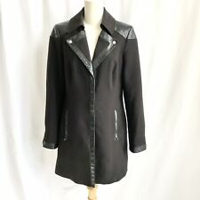 White House Black Market Black Lined Dress Coat Nylon Mix Leather Detail Size M
