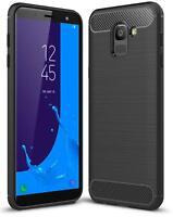For Samsung J6 2018 Carbon Fibre Soft Protective Shockproof Case Cover Black