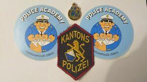 SCHWEIZ Polizei Kanton ZÜRICH Abzeichen & Pin & 2 Aufkleber Police Patch ACADEMY