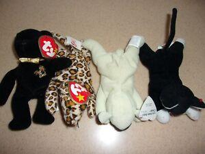 TY Teenie  Beanie Baby Lot of 4 Cat Freckles Leopard End Bear Chops Lamb 3 w tag