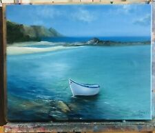 oil paintings original landscape Boat In The Summer Near The Beach Shore16/20