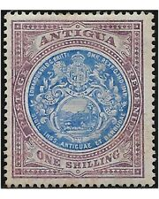 ANTIGUA stamps 1908 Badge 1 Shilling blue and purple sg.49 MH -F528