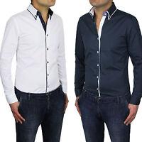 Camicia Uomo Slim Fit Bianca e Blu Button Down Cotone Manica Lunga S M L XL XXL