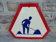 ancienne plaque emaillée TRAVAUX panneau routier signalisation old enamel