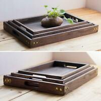 Square Wood Serving Tray Retro Food Tea Coffee Plate Breakfast Snack Table Tray