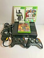 Microsoft Xbox 360 S Model 1439 Console Bundle, 2 controllers + 3 Games