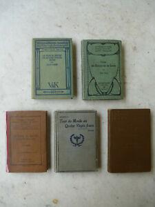 Lot de 5 livres, titres de Jules VERNE + annotations :ANGLAIS, ALLEMAND 1894,95