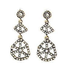 Crystal Pave Geometric Scalloped Web Drop Stud Earrings Gold Tone Twinkle Jewel