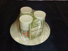 NOS Vtg Mid Century Loma Ind. Plastic Salt Pepper Toothpick Holder Set w/ Tray