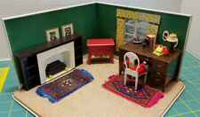 VNTG 12 PIECE DOLLHOUSE FURNITURE-DESK/FIREPLACE/CHAIR/LAMP/CONSOLE/MANY EXTRAS