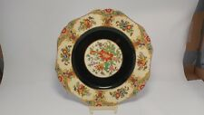 """Maddock & Sons Royal Ivory Minerva 4563 9 3/8"""" Luncheon Plate Black Center"""