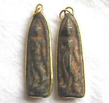 2 Pra Phra Thung Setthi Thai Buddha Amulet Pendant Gold Shade Around Asian Monk
