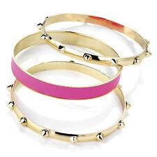 Fab set of 3 Gold Tone Stud Bangles with Pink Bangle Bracelet