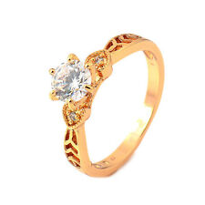 Vintage Hollow Heart 24K Gold Plated Clear Round crystal Promise Love Band Ring