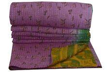INDIAN PATCHWORK KANTHA QUILT VINTAGE BEDSPREAD REVERSIBLE THROW DECOR BLANKET