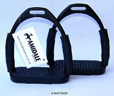 FLEXI SAFETY STIRRUPS HORSE RIDING BENDY IRONS BLACK COLOR FROM AMIDALE