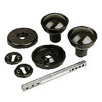 BLACK PLASTIC RIM MORTICE KNOB SET SHED GATE DOOR LOCK