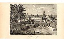Stampa antica BAGDAD BAGHDAD veduta panoramica Iraq 1910 Old print