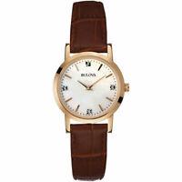 Bulova Women's 97P105 Quartz Diamond Accents Rose Gold Brown Leather 27mm Watch