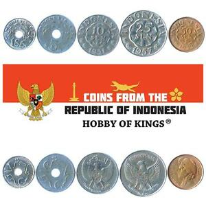 SET OF 5 COINS FROM INDONESIA. 1, 5, 10, 25, 50 SEN. 1951-1961
