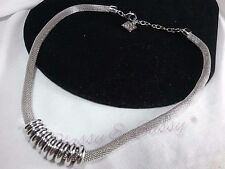 Vintage Anne Klein Silver Wire Rope Snake Mesh Circle Drop Chain Choker Necklace