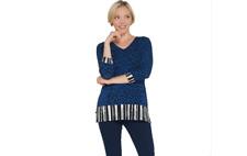 Susan Graver Weekend Printed Cotton Modal Tunic Sapphire XS A308233