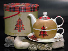 PPD Tea for one Tea4One Set Teekanne Porzellan Tartan Tree (Weihnachten)