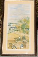Vintage WPA type color litho, signed and numbered, mystery artist 26 x 12