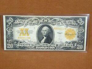 1922 $20.00 Gold Coin Certificate FR 1187 Spellman/White Very Fine Ungraded