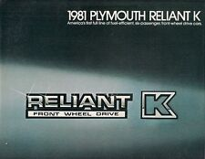 Plymouth Reliant K 1981 USA Market Sales Brochure Coupe Custom Special Edition