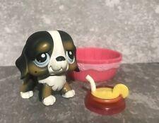 Littlest Pet Shop LPS BLACK AND TAN ST BERNARD PUPPY DOG BLUE EYES