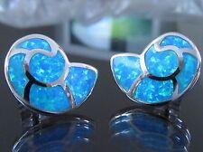 Ohrstecker 925 Sterling Silber Opal Muschel-Form Damen Ohrringe Hellblau