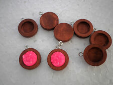 50pcs x 12mm PENDANT Bezel Antique Wooden Wood Cameo Base Cabochon Setting Tray