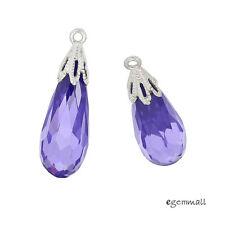 1PC Sterling Silver Purple CZ Teardrop Pendant Earring Charm Bead #98311