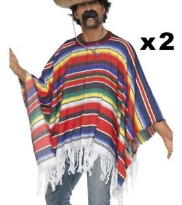 2 x Adult Mens Unisex Mexican Bandit Poncho Fancy Dress Costume Mexico Smiffys