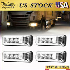 "4x 3.9"" Clear White 3 Diodes LED Sealed Clearence Light for Truck Trailer Lorry"