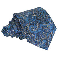 Blue & Silver Mens Tie Woven Floral Royal Paisley Classic Wedding Necktie by DQT