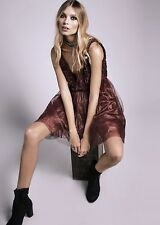 NEW Free People Special Edition wine Beaded Embroidery Tulle Party Dress 8