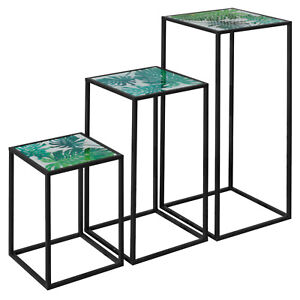 Nest of Three Tall Tables (Set of 3) - Green Leaf Top
