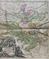 Johann Baptist Homann 1664-1724 Kupferstich Landkarte Franken Rhein