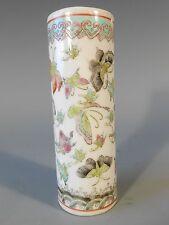 China Chinese Porcelain Famille Rose Butterfly Decor Brush Pot w/ Qianlong Mark