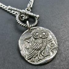 Unique Double Sided Ancient Athena Owl Coin Pendant Toggle Necklace Handmade