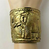 Vintage Brass Elephant Braclet Cuff Detailed Beauty