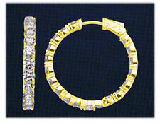 Earring 30 x .10 ct 1 inch #56 3 carat Round cut Diamond 14k Yellow Gold Hoop