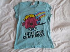 little miss chatterbox SIZE 12 mr men PICTURE T SHIRT top WOMENS  blue new look