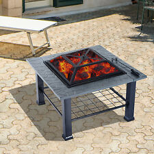 """Outdoor 32"""" Fire Pit Metal Patio Fireplace Burning BBQ Grill Stove Heater Cover"""
