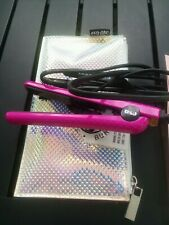 "Eva NYC Healthy Heat Mini Ceramic Hair Styling Travel 1/2"" Iron Pink/Sliver Case"