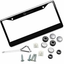 Zone Tech Slim Black Stainless Steel Metal License Plate Frame Screw Caps Matte